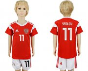 Wholesale Cheap Russia #11 Smolov Home Kid Soccer Country Jersey