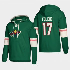Wholesale Cheap Minnesota Wild #17 Marcus Foligno Green adidas Lace-Up Pullover Hoodie