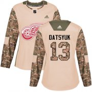 Wholesale Cheap Adidas Red Wings #13 Pavel Datsyuk Camo Authentic 2017 Veterans Day Women's Stitched NHL Jersey