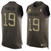Wholesale Cheap Nike Vikings #19 Adam Thielen Green Men's Stitched NFL Limited Salute To Service Tank Top Jersey