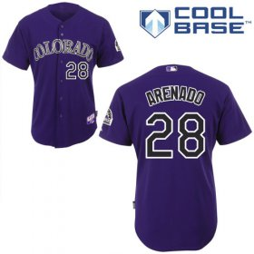 Wholesale Cheap Rockies #28 Nolan Arenado Purple Cool Base Stitched Youth MLB Jersey