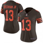 Wholesale Cheap Nike Browns #13 Odell Beckham Jr Brown Women's Stitched NFL Limited Rush Jersey