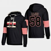 Wholesale Cheap Ottawa Senators #58 Maxime Lajoie Black adidas Lace-Up Pullover Hoodie