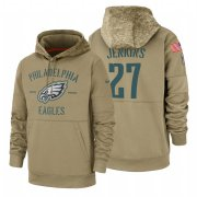 Wholesale Cheap Philadelphia Eagles #27 Malcolm Jenkins Nike Tan 2019 Salute To Service Name & Number Sideline Therma Pullover Hoodie