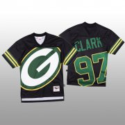 Wholesale Cheap NFL Green Bay Packers #97 Kenny Clark Black Men's Mitchell & Nell Big Face Fashion Limited NFL Jersey