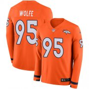 Wholesale Cheap Nike Broncos #95 Derek Wolfe Orange Team Color Men's Stitched NFL Limited Therma Long Sleeve Jersey