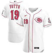Wholesale Cheap Cincinnati Reds #19 Joey Votto Men's Nike White Home 2020 Authentic Player MLB Jersey