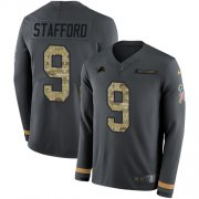 Wholesale Cheap Nike Lions #9 Matthew Stafford Anthracite Salute to Service Youth Stitched NFL Limited Therma Long Sleeve Jersey