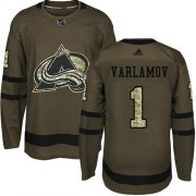 Wholesale Cheap Adidas Avalanche #1 Semyon Varlamov Green Salute to Service Stitched Youth NHL Jersey