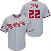 Wholesale Cheap Nationals #22 Juan Soto Grey New Cool Base 2019 World Series Champions Stitched MLB Jersey