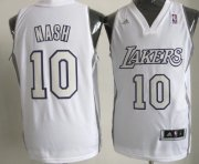 Wholesale Cheap Los Angeles Lakers #10 Steve Nash Revolution 30 Swingman White Big Color Jersey