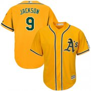 Wholesale Cheap Athletics #9 Reggie Jackson Gold Cool Base Stitched Youth MLB Jersey