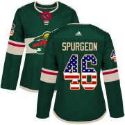 Wholesale Cheap Adidas Wild #46 Jared Spurgeon Green Home Authentic USA Flag Women's Stitched NHL Jersey