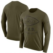 Wholesale Cheap Men's Kansas City Chiefs Nike Olive Salute to Service Sideline Legend Performance Long Sleeve T-Shirt