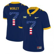 Wholesale Cheap West Virginia Mountaineers 7 Daryl Worley Navy USA Flag College Football Jersey
