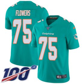 Wholesale Cheap Nike Dolphins #75 Ereck Flowers Aqua Green Team Color Youth Stitched NFL 100th Season Vapor Untouchable Limited Jersey