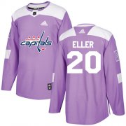 Wholesale Cheap Adidas Capitals #20 Lars Eller Purple Authentic Fights Cancer Stitched NHL Jersey