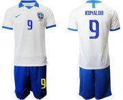 Wholesale Cheap Brazil #9 Ronaldo White Soccer Country Jersey