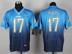 Wholesale Cheap Nike Chargers #17 Philip Rivers Electric Blue/Navy Blue Men\'s Stitched NFL Elite Fadeaway Fashion Jersey