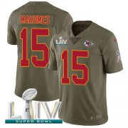 Wholesale Cheap Nike Chiefs #15 Patrick Mahomes Olive Super Bowl LIV 2020 Men's Stitched NFL Limited 2017 Salute To Service Jersey