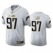 Wholesale Cheap Los Angeles Chargers #97 Joey Bosa Men's Nike White Golden Edition Vapor Limited NFL 100 Jersey