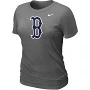Wholesale Cheap Women's MLB Boston Red Sox Heathered Nike Blended T-Shirt Dark Grey