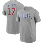 Wholesale Cheap Chicago Cubs #17 Kris Bryant Nike Name & Number T-Shirt Gray