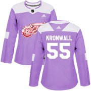 Wholesale Cheap Adidas Red Wings #55 Niklas Kronwall Purple Authentic Fights Cancer Women's Stitched NHL Jersey