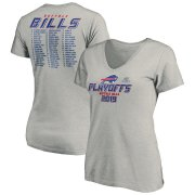 Wholesale Cheap Buffalo Bills Women's 2019 NFL Playoffs Bound Comeback V-Neck T-Shirt Heather Gray