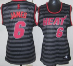 Wholesale Cheap Miami Heat #6 LeBron James Gray With Black Pinstripe Womens Jersey