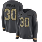 Wholesale Cheap Nike Lions #30 Jeff Okudah Anthracite Salute to Service Women's Stitched NFL Limited Therma Long Sleeve Jersey