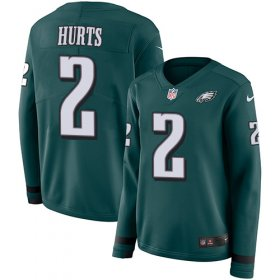 Wholesale Cheap Nike Eagles #2 Jalen Hurts Green Team Color Women\'s Stitched NFL Limited Therma Long Sleeve Jersey