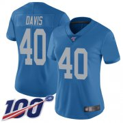 Wholesale Cheap Nike Lions #40 Jarrad Davis Blue Throwback Women's Stitched NFL 100th Season Vapor Limited Jersey