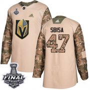 Wholesale Cheap Adidas Golden Knights #47 Luca Sbisa Camo Authentic 2017 Veterans Day 2018 Stanley Cup Final Stitched Youth NHL Jersey