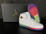 Wholesale Cheap Air Jordan 1 Retro High Gs Heiress Shoes White/Rainbow
