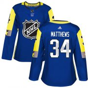 Wholesale Cheap Adidas Maple Leafs #34 Auston Matthews Royal 2018 All-Star Atlantic Division Authentic Women's Stitched NHL Jersey