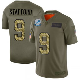 Wholesale Cheap Detroit Lions #9 Matthew Stafford Men\'s Nike 2019 Olive Camo Salute To Service Limited NFL Jersey