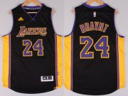 Wholesale Cheap Los Angeles Lakers #24 Kobe Bryant Revolution 30 Swingman 2014 New Black With Purple Jersey