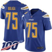 Wholesale Cheap Nike Chargers #75 Bryan Bulaga Electric Blue Youth Stitched NFL Limited Rush 100th Season Jersey