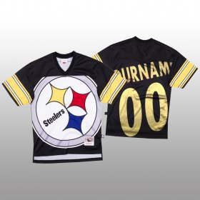 Wholesale Cheap NFL Pittsburgh Steelers Custom Black Men\'s Mitchell & Nell Big Face Fashion Limited NFL Jersey