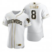 Wholesale Cheap Milwaukee Brewers #8 Ryan Braun White Nike Men's Authentic Golden Edition MLB Jersey