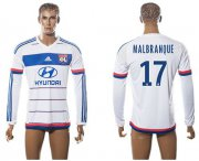 Wholesale Cheap Lyon #17 Malbranque Home Long Sleeves Soccer Club Jersey