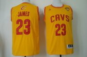 Wholesale Cheap Men's Cleveland Cavaliers #23 LeBron James 2015 The Finals Yellow Jersey