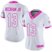 Wholesale Cheap Nike Giants #13 Odell Beckham Jr White/Pink Women's Stitched NFL Limited Rush Fashion Jersey