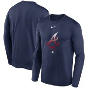 Wholesale Cheap Men's Atlanta Braves Nike Navy Authentic Collection Legend Performance Long Sleeve T-Shirt