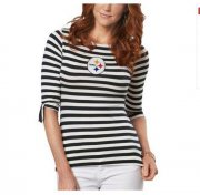 Wholesale Cheap Pittsburgh Steelers Lady Striped Boatneck Three-Quarter Sleeve T-Shirt
