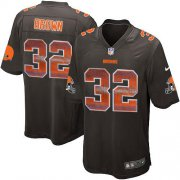 Wholesale Cheap Nike Browns #32 Jim Brown Brown Team Color Men's Stitched NFL Limited Strobe Jersey