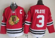 Wholesale Cheap Blackhawks #3 Pierre Pilote Red CCM Throwback Stitched NHL Jersey