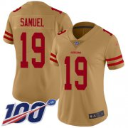 Wholesale Cheap Nike 49ers #19 Deebo Samuel Gold Women's Stitched NFL Limited Inverted Legend 100th Season Jersey