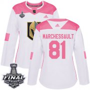 Wholesale Cheap Adidas Golden Knights #81 Jonathan Marchessault White/Pink Authentic Fashion 2018 Stanley Cup Final Women's Stitched NHL Jersey